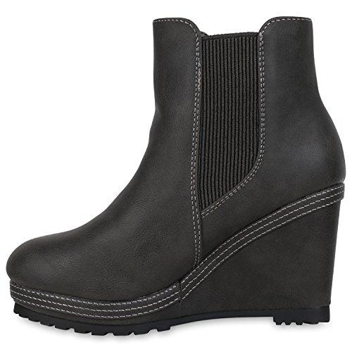 Stiefelparadies Damen Stiefeletten Zipper Warm Gefütterte Keilstiefeletten Plateau Boots Velours Keilabsatz Schuhe Wedges Booties Flandell Grau Bernice