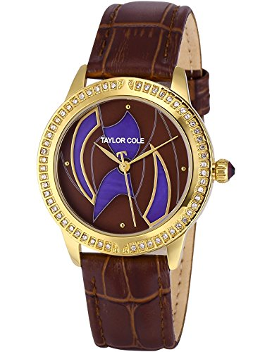 HELMASK TC122 Echo Brown Dial Fashion Crystal Analog Quartz Women Watch Crystal Line Collection Brown Dial