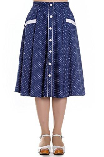 Hell Bunny Navy Blue Martie Polka Dot 50s Vintage Skirt - (Bunny Skirt)