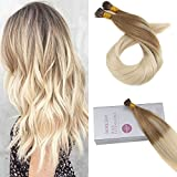 Bleaching Hair Brown To Blonde - Moresoo 16 inch 50g Keratin I Tipped Hair Extensions Balayage Color Chestnut Brown/#6 to #613 Blonde Hair Extensions 100% Remy Human Hair Extensions