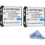 Replacement Battery Kit For Fujifilm FinePix XP70 XP80, XP90, XP120 Fuji NP-45A, NP-45S Waterproof digital Cameras - 2 Pack