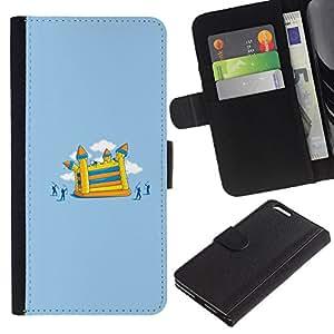 LECELL--Cuero de la tarjeta la carpeta del tirón Smartphone Slots Protección Holder For Apple Iphone 6 PLUS 5.5 -- Divertido Ataque Castillo --