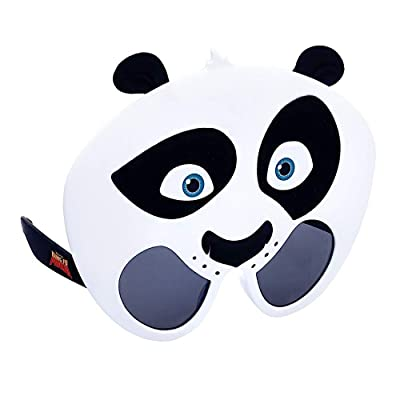Sun-Staches Officially Licensed Kung Fu Panda Po Character Sunglasses, Costume Party Favor Shades UV400 Black, White: Toys & Games