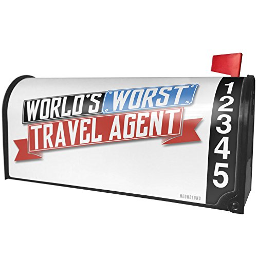 NEONBLOND Funny Worlds worst Travel Agent Magnetic Mailbox Cover Custom Numbers by NEONBLOND