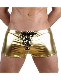 Fangran Men's Sexy Faux Leather Underwear Trunks Boxer Briefs Swimwear Underpants