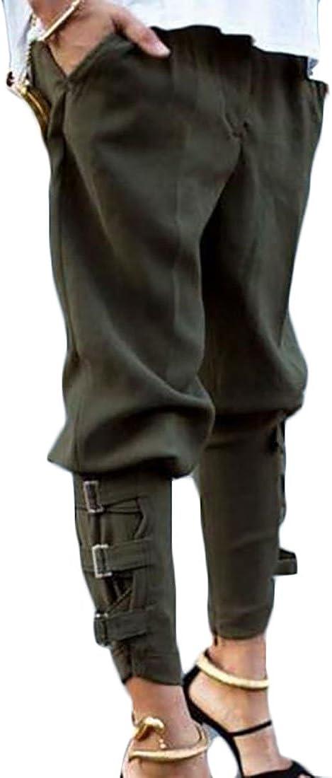Papijam Womens Fashion Elastic Waist Harem Pocket Bandage Jogger Pants Army green L
