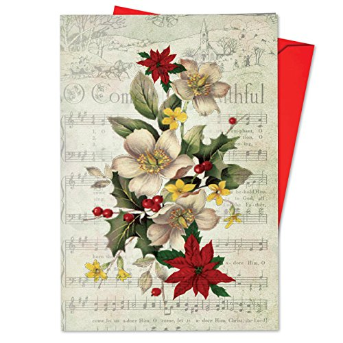 B6650DXTG Box Set of 12 Holly Notes Funny Christmas Note Card Featuring Festive Holiday Foliage Atop Vintage Christmas Carol Song Sheets; with Envelopes