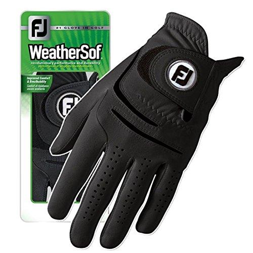 Golf Feel Glove Black - Premium Brand New FootJoy WeatherSof Mens Black Golf Glove - Worn of Left Hand (Large)