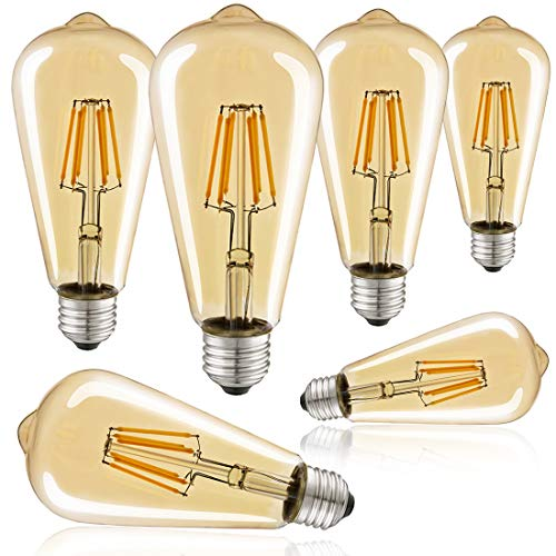 Edison Bulb LED 6W Dimmable Vintage Light Bulb 60W Equivalent Amber Glass Antique 2700K Soft White Filament Bulb Squirrel Cage E26 Base 120V for Indoor, Pendant Pack of 6