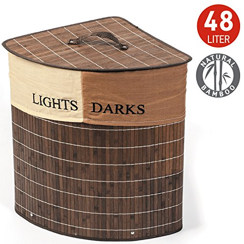 Tatkraft Monaco Corner Bamboo Laundry Basket with Cotton Bag 2 Sections for Lights & Darks 48L 35X35X50H (Corner Section)