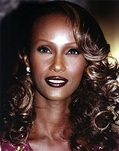 Iman with Dark lipstick and Curly Hair Photo Print (24 x 30)