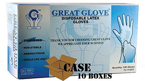 Great Glove - Lightly Powdered Disposable Latex Glove - Case Size Medium