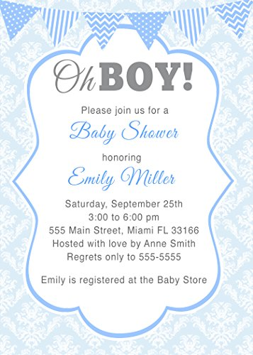 Oh Boy Stripes - 30 Invitations Blue Vintage Damask Chevron Polka Dots Stripes Oh Boy Design Baby Shower Party Personalized Cards + 30 White Envelopes