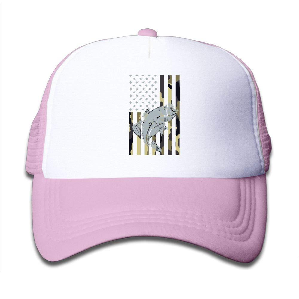 Kid's Boys Girls Patriotic Bass Fishing Youth Mesh Baseball Cap Summer Adjustable Trucker Hat