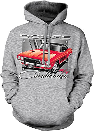 Dodge Challenger R/T, American Muscle Hooded Sweatshirt, NOFO Clothing Co. S LtGray (Challenger R/t Hemi Coupe)