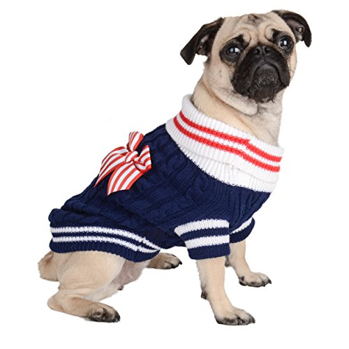 Navy Dog Sweater with Bow