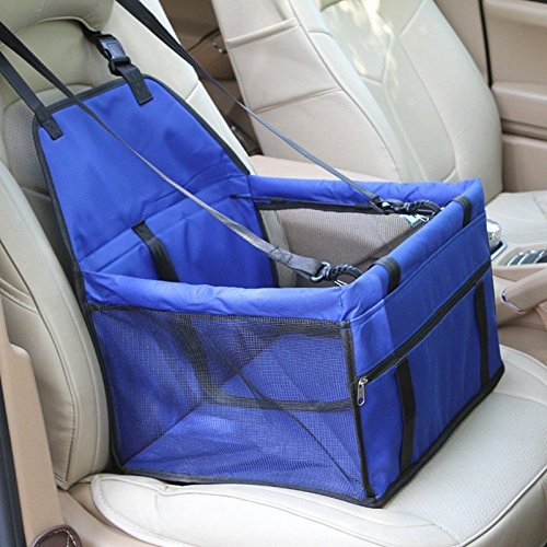 Zakally Deluxe Portable Pet Dog Booster Waterproof Car Seat with Clip-On Safety Leash and Zipper Storage Pocket– Perfect for Small and Medium Pets up to 30 lbs - Up And Booster Car Seats Lbs 30