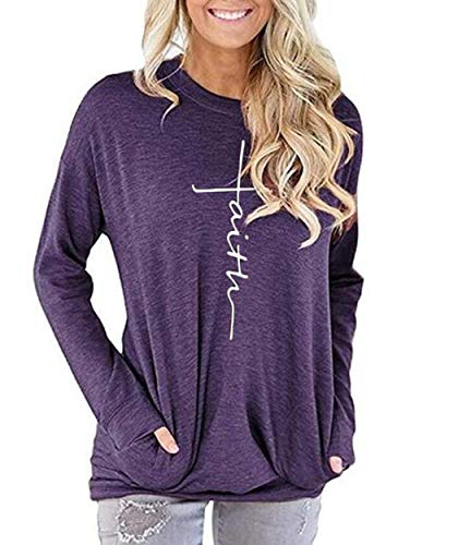 AELSON Women's Casual Faith Printed Round Neck Sweatshirt T-Shirts Tops Blouse with Pocket Purple