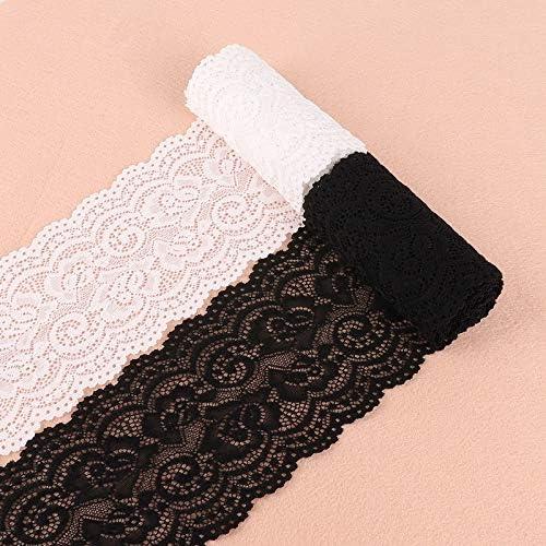 Cenefa de Encaje con Ribete de Encaje para decoraci/ón de Bodas 10 cm de Ancho Color Blanco y Negro Yulakes 5 Yards