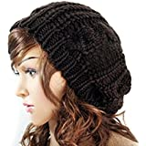 EUBUY Winter Warm Baggy Beret Chunky Knitted Braided Beanie Hat