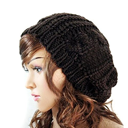 EUBUY Top Fashion Winter Warm Women Lady Yong Girls Baggy Beret Chunky Knit Knitted Braided Beanie Hat Ski Cap Crochet Knitted Hat Knitted Crochet Oversized Slouch Hat for Women(Black)
