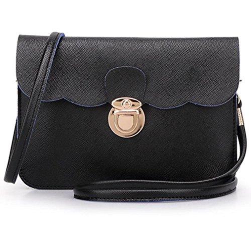 Fulltime(TM) Women's Leather Shoulder Bag Clutch Handbag Tote Purse Hobo Messenger Black