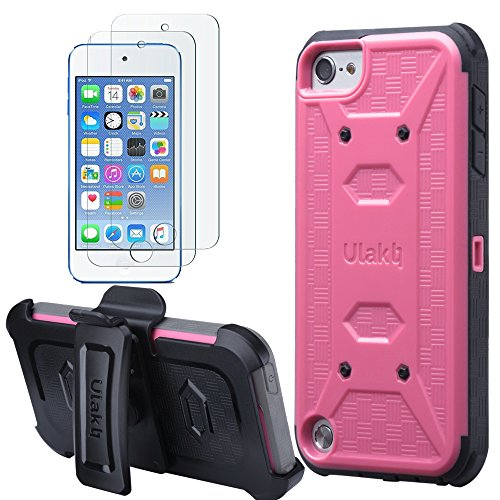 ULAK iPod Touch 6 Case,iPod Touch 5 Case,[KNOX ARMOR] Dual Layer Hybrid Protective Cover with Belt Clip Holster  - Retail Packaging - Rose pink ()