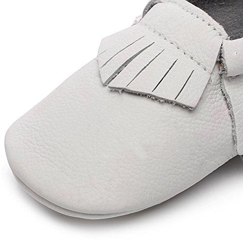 Shenn Babys Mädchen Niedlich Quasten Teilt Leder Sicherheit Zertifiziert Lauflernschuhe Weiß