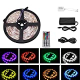 LED Strip Light Waterproof with Remote,16.4FT Flexible Color Changing RGB SMD 5050 LED Rope Lighting Kit with 44 Keys IR Remote Controller & 12 V Power Supply for Outdoor and Indoor Decoration