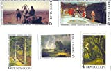 1986 Russia Postage Stamp Set Complete Mint Set Of 5 Russian Paintings Featured In The Tretyakov Gallery, Moscow Scott #'s 5466-70