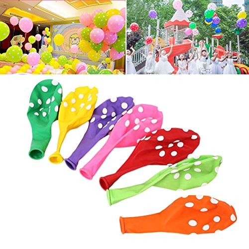 KICODE Candy Colors 100 Pcs Assorted Balloon Polka Dots Ball