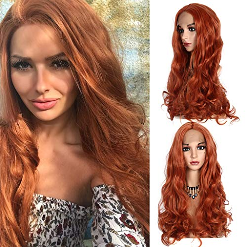 -  Hair Wig Clearance , Lace Front Women's Fashion Wig Orange Synthetic Hair Long Wigs Wave Curly Wig  by Little Story