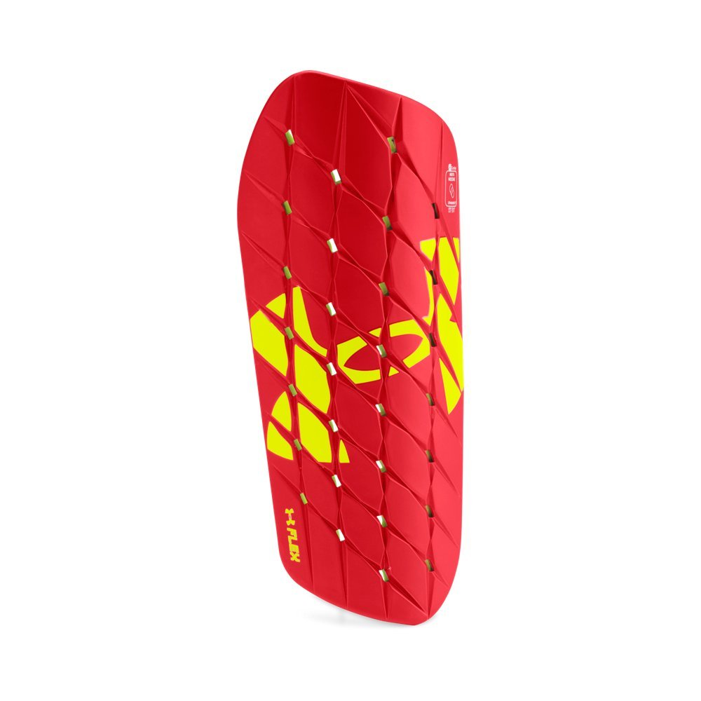 Under Armour Men's Armour Flex Pro Shinguard, Red/High-Vis Yellow, Small