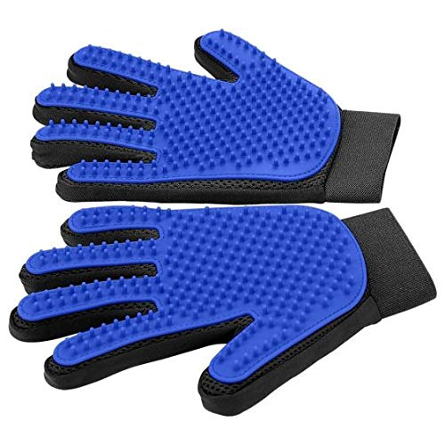 Pelican Pets Suply Pet Grooming Glove - Pet Brush Glove with Premium 255 Bristles - Pet Deshedding Glove - Perfect for Dogs, Cats and Animals with Long & Short Hair