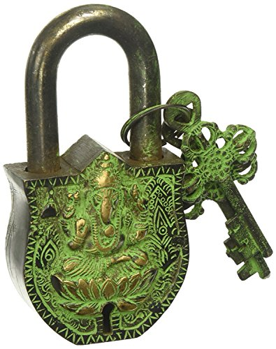 PARIJAT HANDICRAFT Functional Brass Beautiful Padlocks with Two Keys Solid Brass with Natural Patina in a Beautifully Ornate Padlock - Ornamental Antique Handcrafted Locks for Security and Style