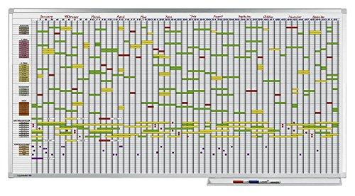 Legamaster 7-405000 Professional Jahresplaner mit 7-Tage-Woche,  leichtes Weißboard bedruckt mit Kalenderraster, emailliert, 100 x 200 cm B000O1GLVC    | Hochwertig