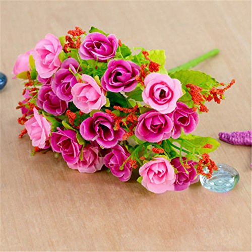 VIPASNAM-21 Head 1 Bouquet Artifical Silk Plastic Rose Flower For Home Wedding Decoration(color:rose red gb-CQ1613)