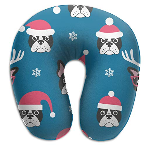 Santa Pillow Bulldogs (Chael Rhy U-Shaped Memory Foam Travel Neck Pillow Blue French Bulldogs with Santa U-Shaped Pillow Neck Pillow U Shaped Cushion Throw Pillow)