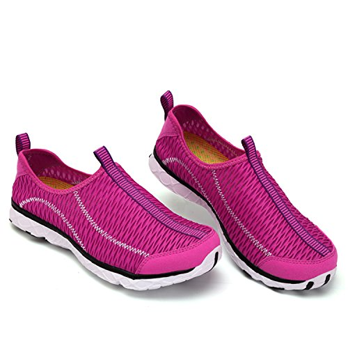 PENGCHENG Womens Water Shoes Mesh Quick Drying Aqua Lightweight Athletic Sport Outdoor Breathable Slip-On Shoes Rose F2ncE2Nwy
