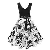 STORTO Women's Deep V Neck Dress Vintage Sleeveless Print Clover Print Party Swing Dress