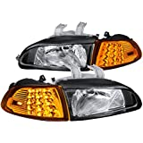 For Honda Civic 2Dr/3Dr EG EH EJ Black Headlights+LED Corner Signal Lights 4PC