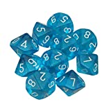 10 sided dice - Dices - TOOGOO(R)10-Dices D10 Ten Sided Gem Dice Die for RPG Dungeons&Dragons Board Table Games Transparent Blue