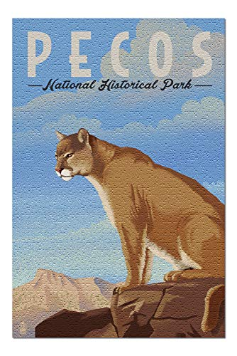 (Pecos National Historical Park - Mountain Lion - Lithograph (20x30 Premium 1000 Piece Jigsaw Puzzle, Made in USA!))