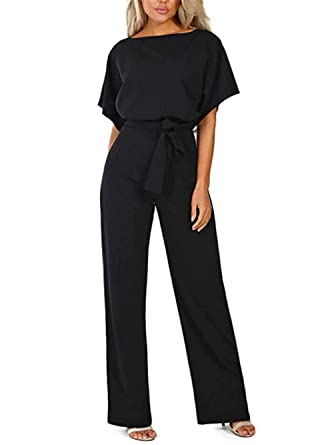 b73859918af0 iChunhua Round Neck Wide Leg Long Pant High Waist Long Jumpsuit Rompers S  Black
