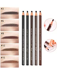Amareu 12 Pcs Waterproof Eyebrow Pencils In 5 Colors...