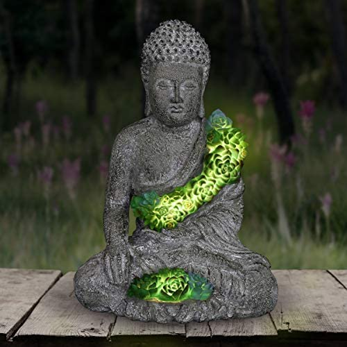 Exhart Solar Buddha Statue w/Beautiful Green LED Succulent