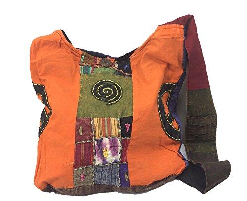 Hippie Schulter Sling Bag Multi farbige Patchwork Boho ethnischen Hippie (BAG-59-2)