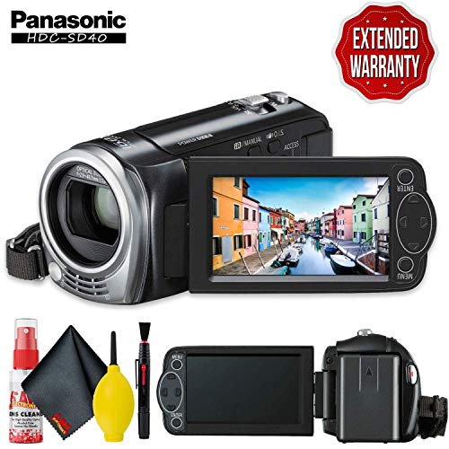 Panasonic HDC-SD40 High Definition Camcorder (Black) with Cleaning Kit and Extended Warranty (Panasonic Sd40)