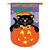 Happy Halloween Black Cat & Pumpkin Flag, 28″ x 44″