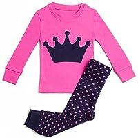 Bluenido Girls Crown 2 Piece Pajama 100% Super Soft Cotton (12m-7y)